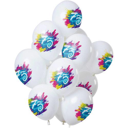 Ballonnen Color Splash 75 jaar, 12inch/30cm per 12st