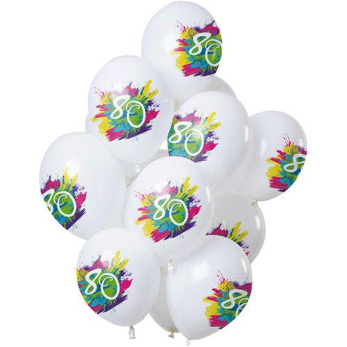 Ballonnen Color Splash 80 jaar, 12inch/30cm per 12st