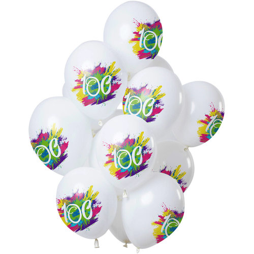 Ballonnen Color Splash 100 jaar, 12inch/30cm per 12st