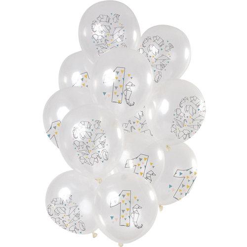 Ballonnen Origami Party 1 jaar, 12inch/30cm per 12st