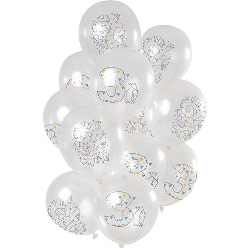 Ballonnen Origami Party 3 jaar, 12inch/30cm per 12st