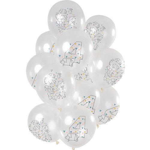 Ballonnen Origami Party 4 jaar, 12inch/30cm per 12st