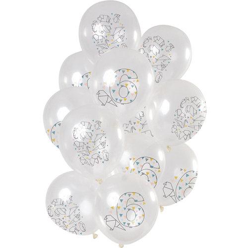 Ballonnen Origami Party 6 jaar, 12inch/30cm per 12st