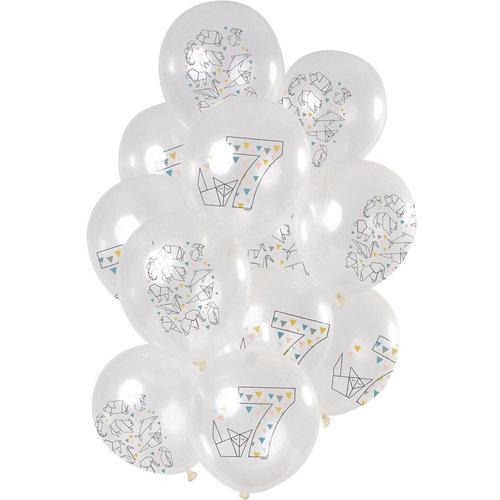 Ballonnen Origami Party 7 jaar, 12inch/30cm per 12st