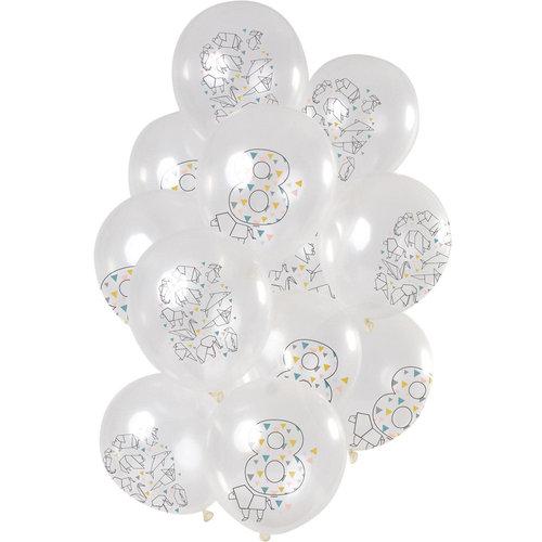 Ballonnen Origami Party 8 jaar, 12inch/30cm per 12st