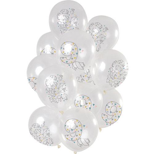Ballonnen Origami Party 9 jaar, 12inch/30cm per 12st