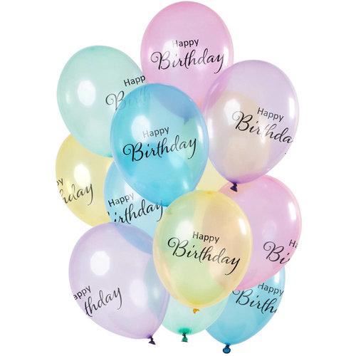 Ballonnen happy Birthday Crystal Colored,12inch/30cm per 12st