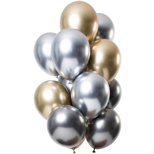 Ballonnen Let it Shine Zilver/Goud/Antraciet , 13inch/33cm per 12st