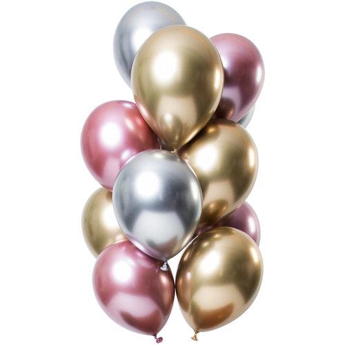 Ballonnen Let it Shine Zilver/Goud/roze, 13inch/33cm per 12st