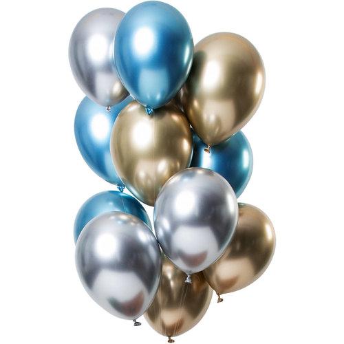 Ballonnen Let it Shine Zilver/Blauw/Antraciet , 13inch/33cm per 12st