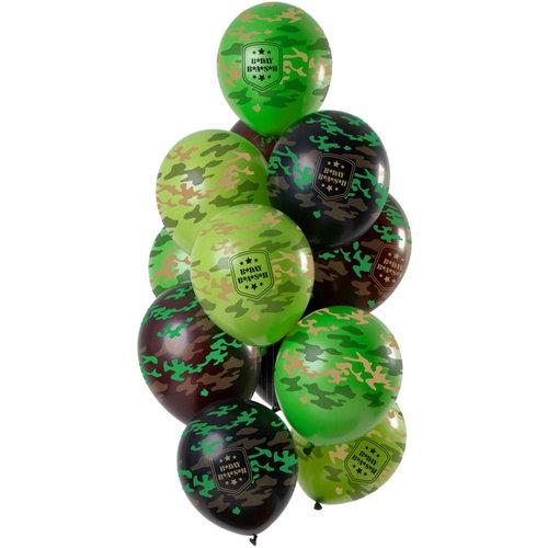 Ballonnen Happy Birthday Camouflage, 12inch/30cm per 15st