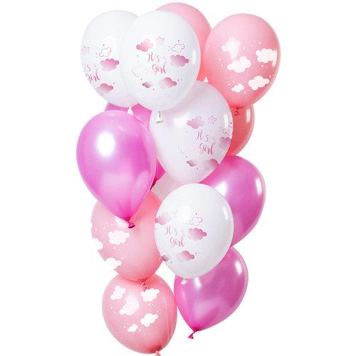 Ballonnen Baby Shower Meisje, 12inch/30cm per 12st