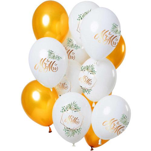 Ballonnen Mr & Mrs, 12inch/30cm per 12st