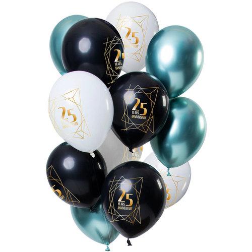 Ballonnen Anniversary 25 jaar, 12inch/30cm per 12st