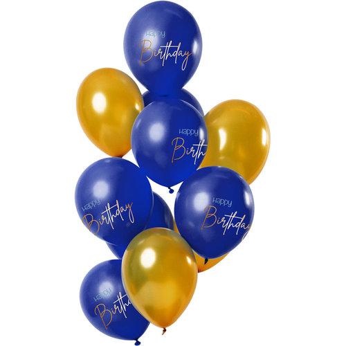Ballonnen Elegant True Blue Happy Birthday, 12inch/30cm per 12st