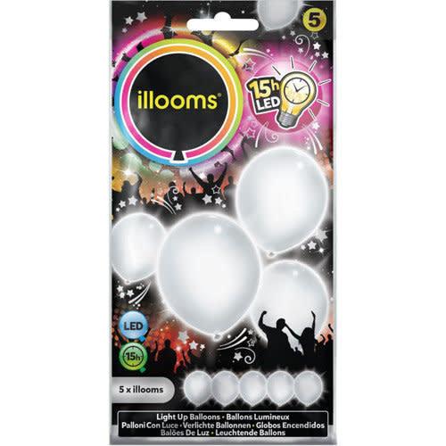Led ballons WIT per 5st, 23cm 15uur incl batt