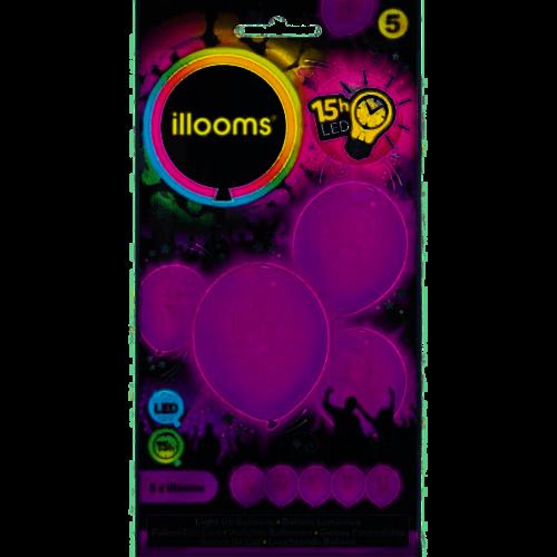 Led ballons PAARS, per 5st 23cm incl batt