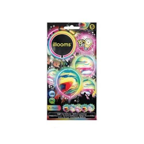 Ballonnen met LED licht marmerkleur, 23cm per 5st  15hrs