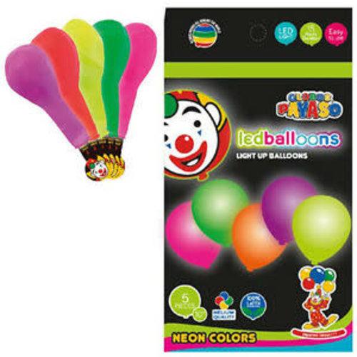 Ballonnen neon met LED licht, 25cm/5st