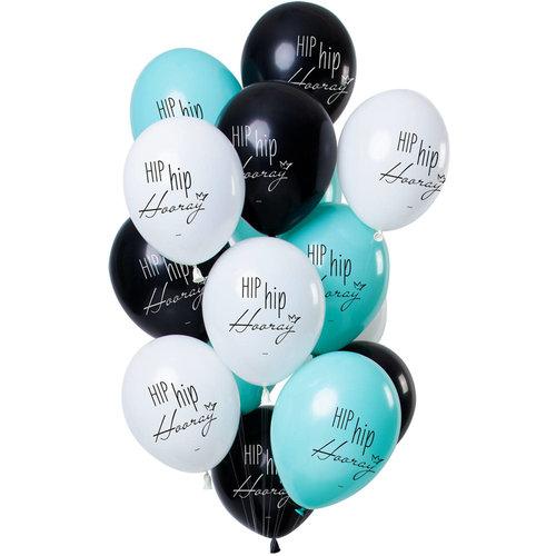 Ballonnen Hip Hip Hooray, 12inch/30cm per 12st