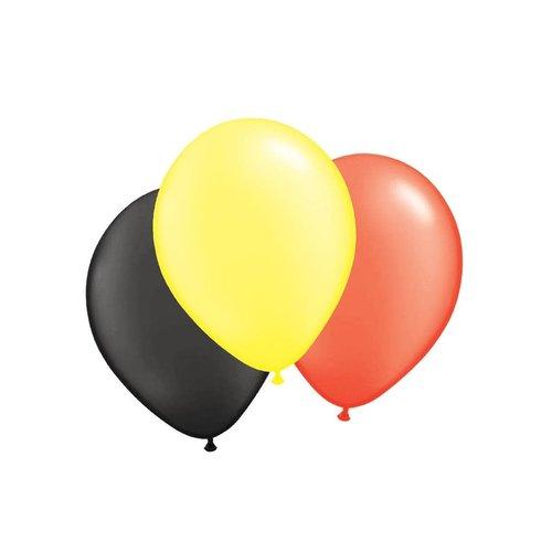 Funny Fashion Ballonnen zwart/geel/rood per 100st, 30cm/12inch