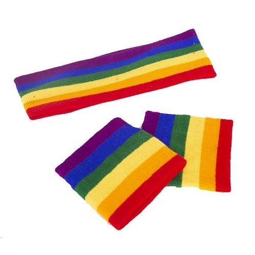 Zweetbandjes set regenboog