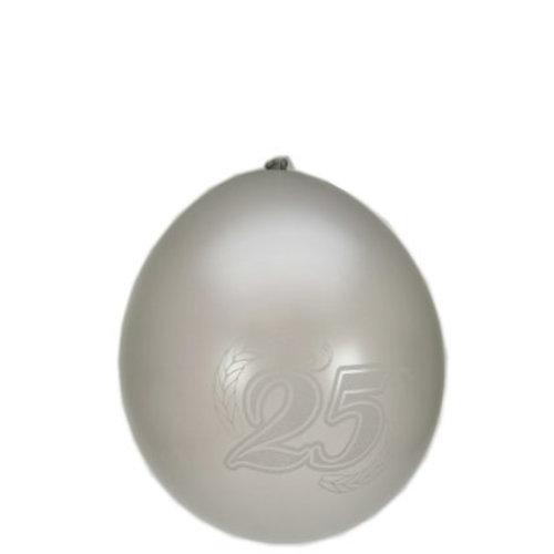 Ballons 25 metallic zilver mt 10/27 8st