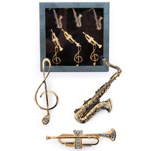 Broche 'Muziekinstrumenten' 3 ass, per st