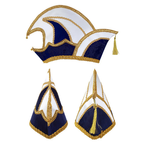 Prinsenmuts blauw/wit luxe