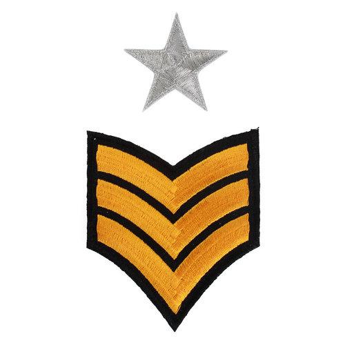 Strijkapplicatie 'Army strepen en sterren' per 2st