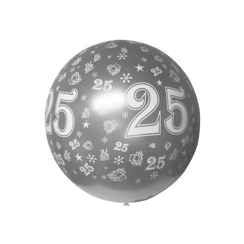 Ballon mega bedrukt '25' zilver metallic, 90cm