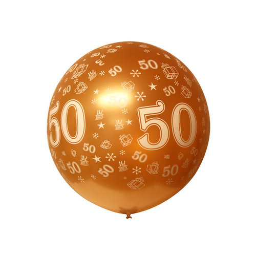 Ballon mega bedrukt '50' goud metallic, 90cm