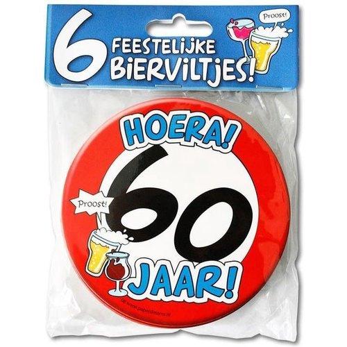 Bierviltjes 'Hoera 60 jaar', per 6st