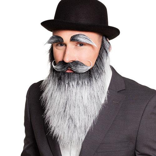 Baard met snor en wenkbrauwen grijs/zwart