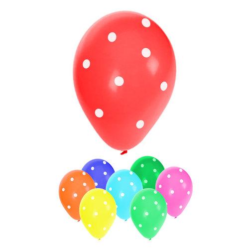 Ballonnen met stippen verkr. in ass kleuren, per 8st