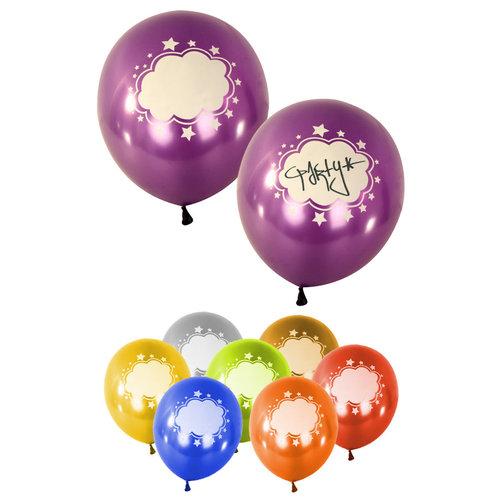 Ballonnen met tekstwolk verkr. in ass kleuren metallic per 8st