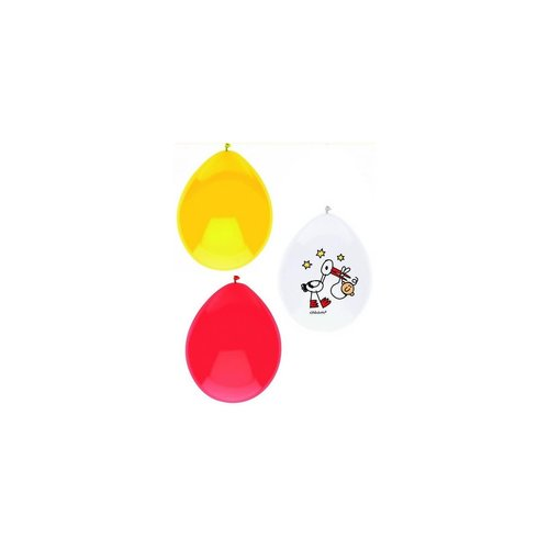 Ballons 'Babette' 23cm baby rd/gl/wit, per 6st