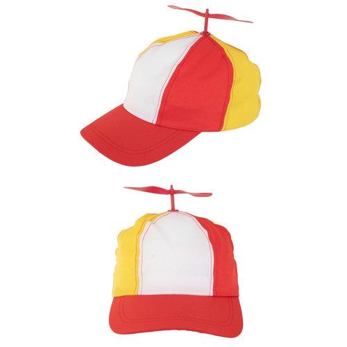 Baseball cap met propeller rd/wt/gl