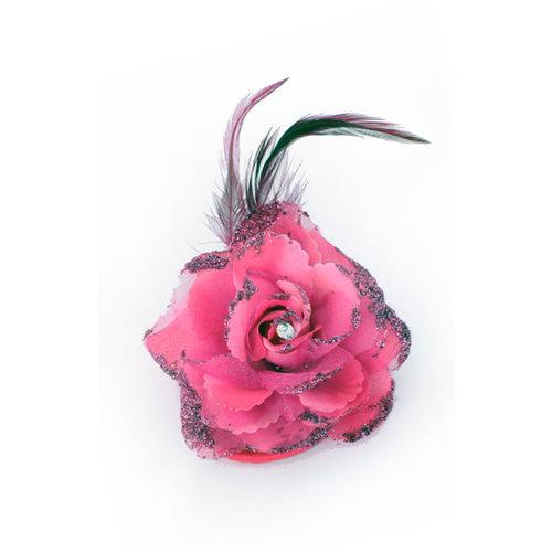 Bloem op speld/clip, hot pink