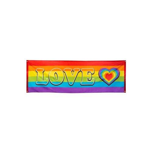 Banner LOVE regenboogkleuren, 74x220cm