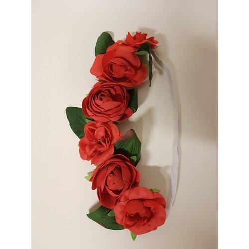 Bloemen haarband 'Dirndl' rood