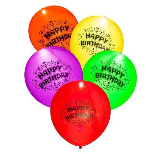 Ballonnen Illooms Happy Birthday met licht, 23cm/8st