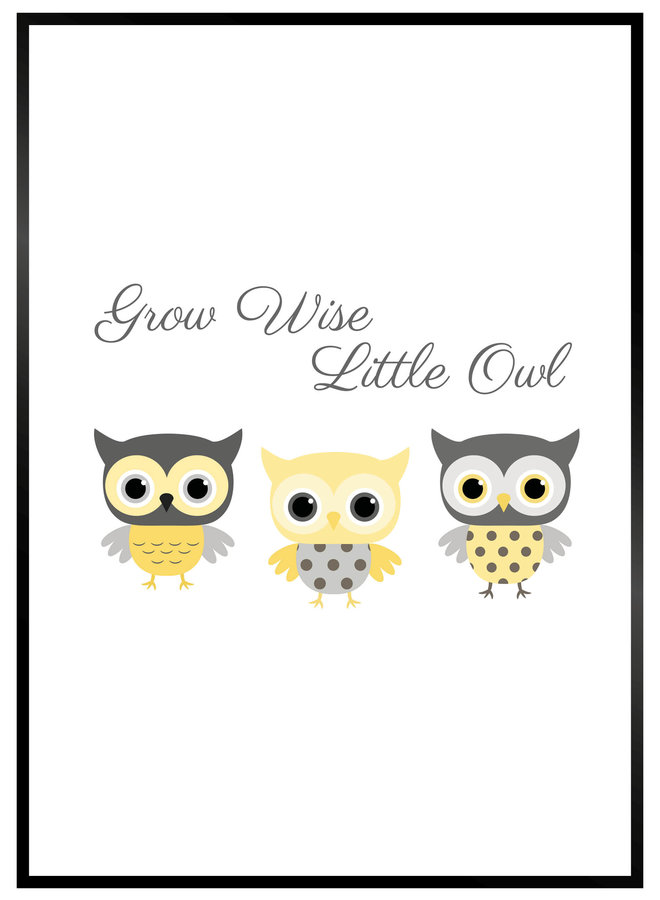 Grow Wise Little Owl Yellow/Grey Poster
