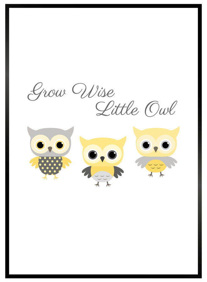 Grow Wise Little Owl Yellow Poster