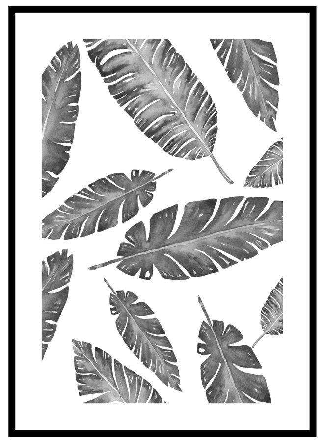Blaadjes Zwart-Wit ll Poster