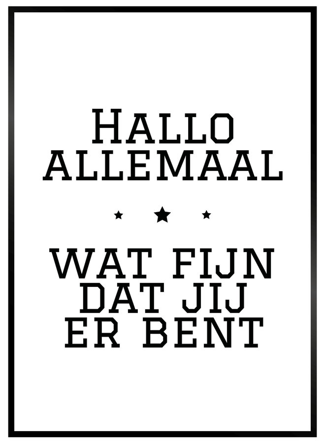 Hallo Allemaal