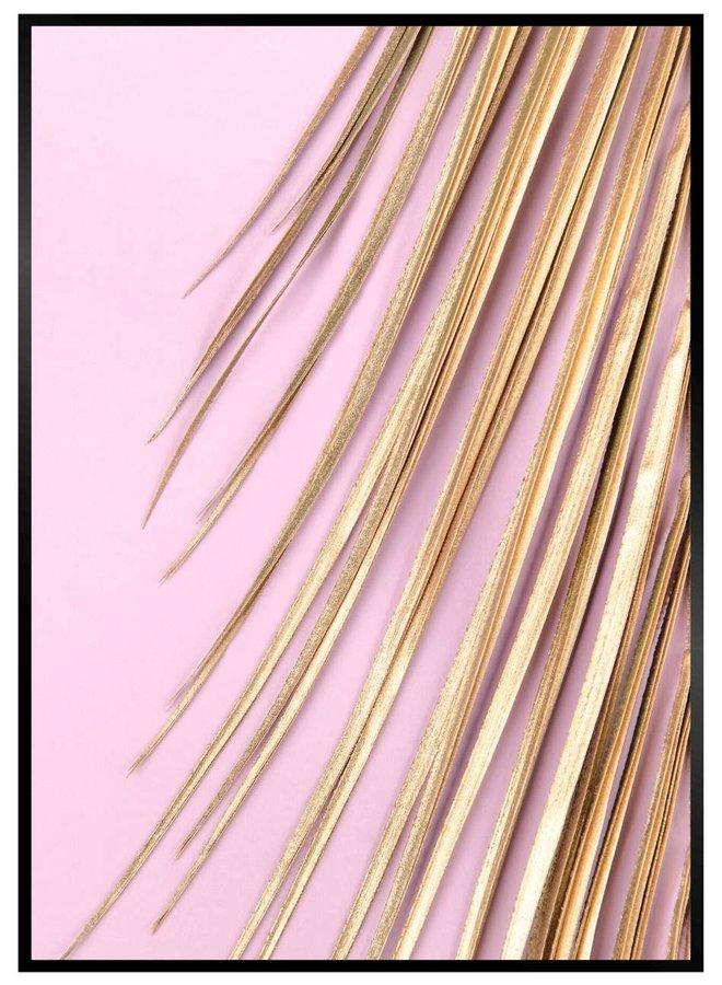 Palmblad Goud en Roze Poster