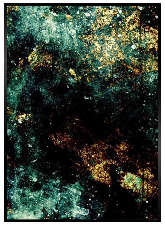 Marble Zwart Blauw en Goud Poster