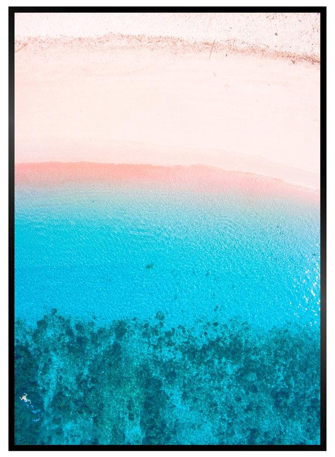 Pink Blue Beach Poster