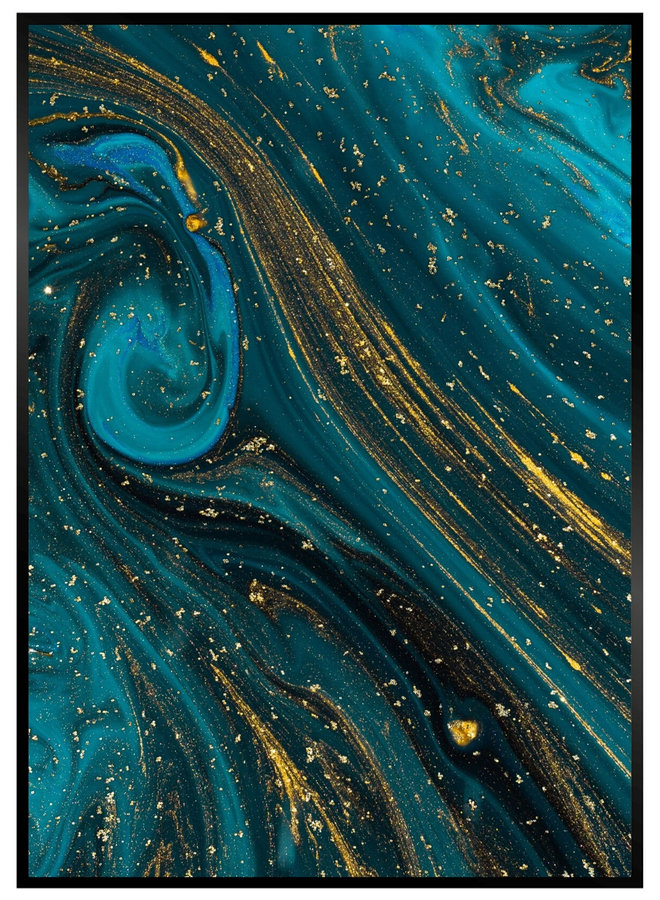 Blue Gold Marble Poster